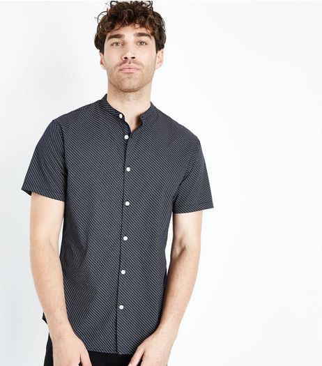 Navy Tiny Print Grandad Collar Shirt | New Look