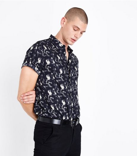 Black Mottled Short Sleeve Shirt | New Look