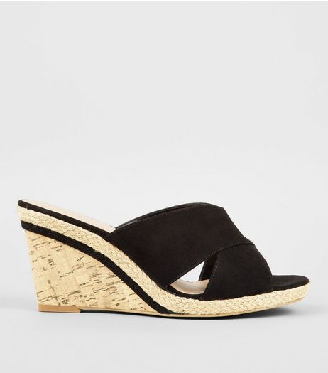 Wide Fit Black Wedged Sandals | New Look