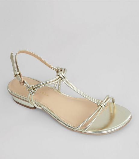 Wide Fit Gold Metallic Knot Front Sandals | New Look