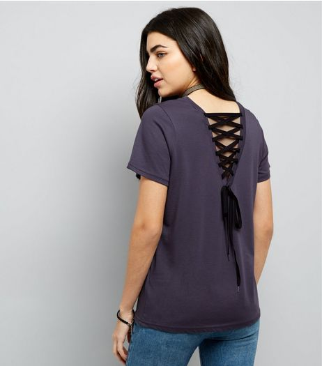 Dark Grey Stolen Hearts Moon Print Lace Up T-Shirt | New Look