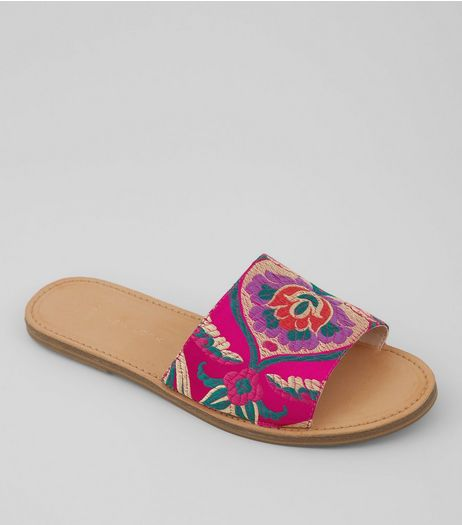 Wide Fit Pink Floral Brocade Mules | New Look