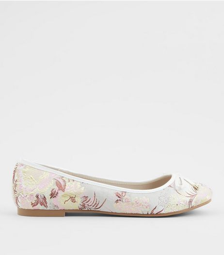 Wide Fit Pink Floral Brocade Ballet Pumps | New Look