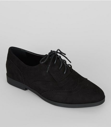 Black Suedette Lace Up Brogues | New Look