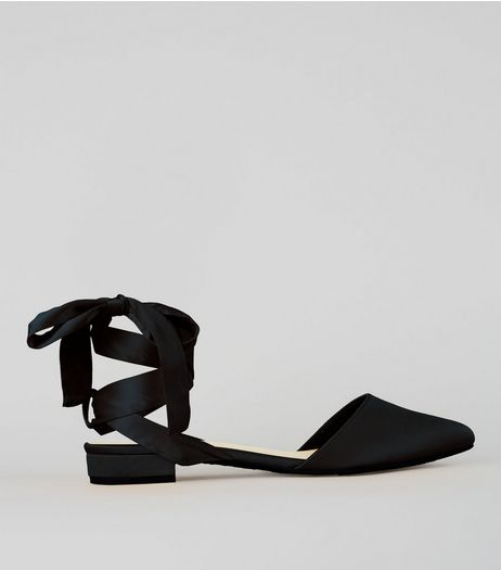 Wide Fit Black Satin Ankle Tie Sandals | New Look