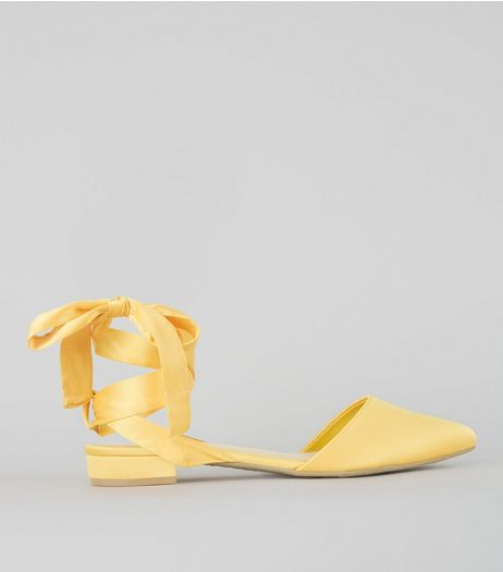 Wide Fit Yellow Satin Ankle Tie Sandals | New Look