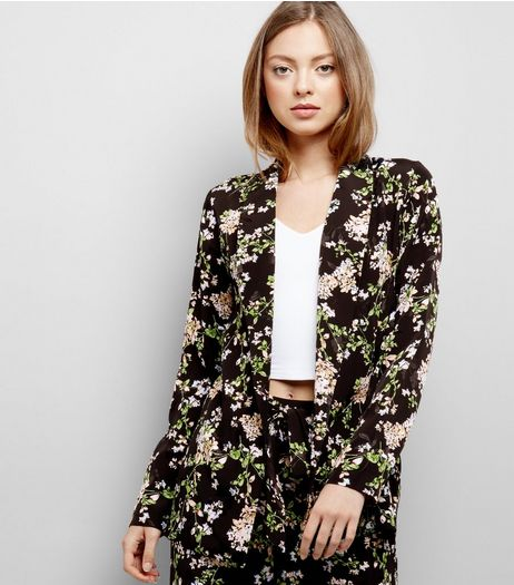Black Floral Print Textured Jacquard Blazer | New Look