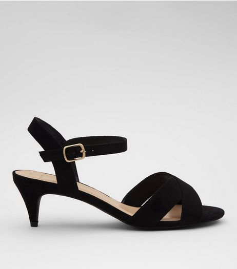 Wide Fit Black Suedette Cross Strap Kitten Heels | New Look