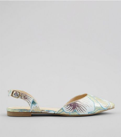 Wide Fit Mint Green Floral Brocade Sling Back Pumps | New Look