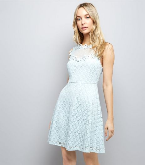 Pale Blue Lace Embellished Sleeveless Skater Dress | New Look