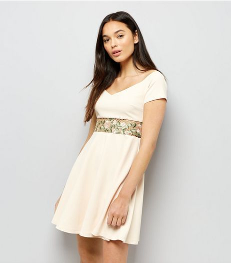 Shell Pink Lace Floral Waist Trim Bardot Dress | New Look
