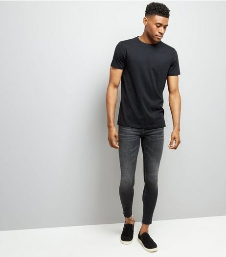 Black Raw Hem Super Skinny Jeans | New Look