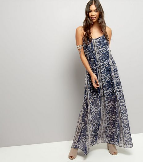 Blue Vanilla Navy Abstract Print Tie Front Dress | New Look