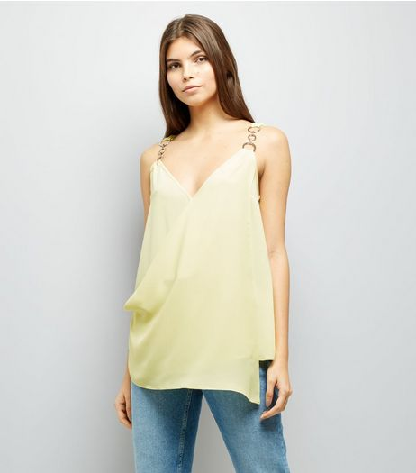 Yellow Ring Strap Asymmetric Wrap Front Top | New Look