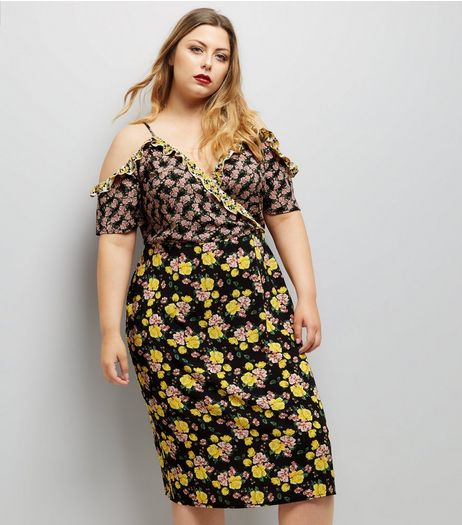 Curves Black Mixed Floral Print Cold Shoulder Midi Dress | New Look