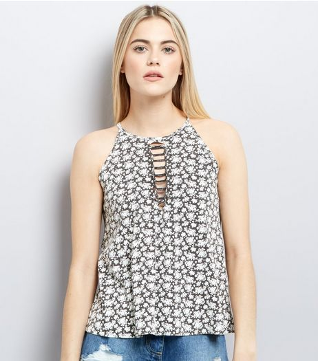 Black Floral Print Tie Front Tank Top | New Look