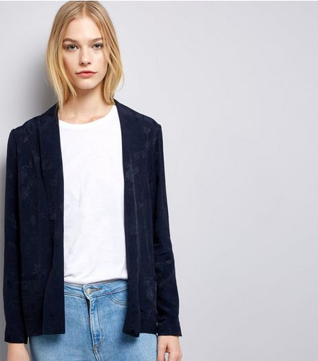 Navy Floral Jacquard Blazer | New Look