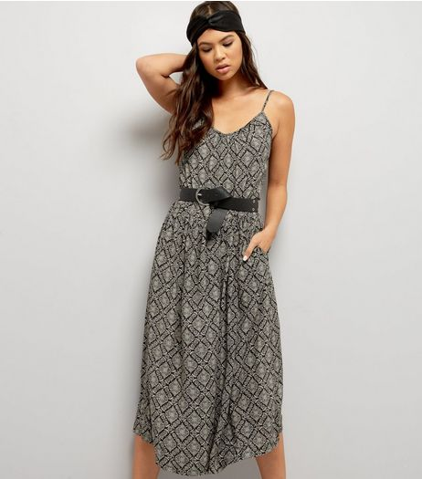 Blue Vanilla Black Abstract Print Culotte Jumpsuit  | New Look