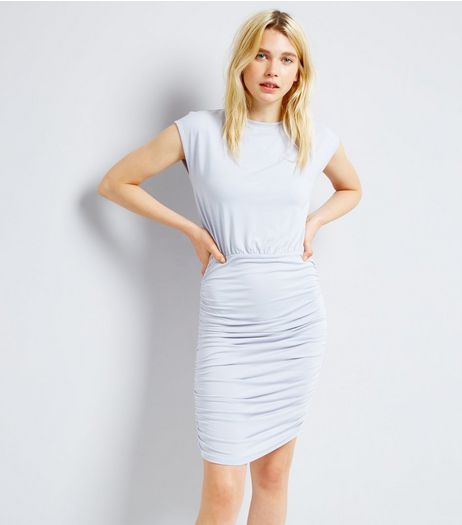 Pale Blue Jersey Ruched Side Bodycon Dress | New Look