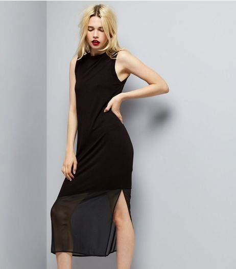 Black Sleeveless Split Side Midi Dress  | New Look