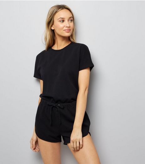 Black Tie Waist Sweater Playsuit | New Look