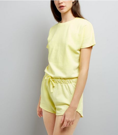 Yellow Tie Waist Sweater Playsuit  | New Look