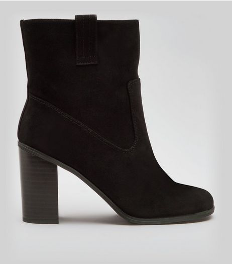 Black Suedette Mid Calf Heeled Boots | New Look