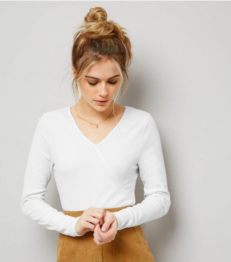 White Ribbed Long Sleeve Wrap Bodysuit | New Look