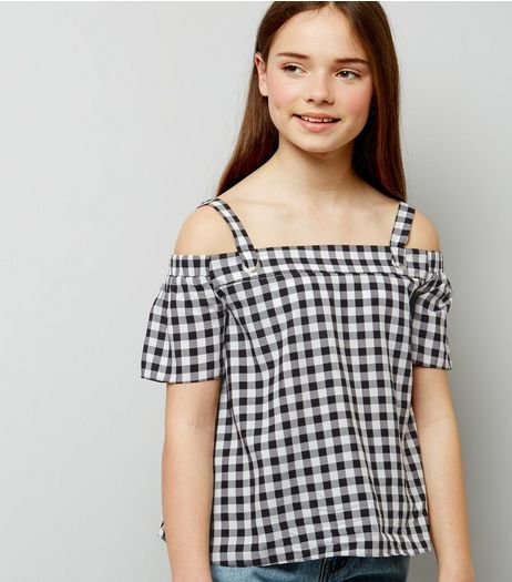Teens Black Gingham Eyelet Strap Bardot Neck Top | New Look