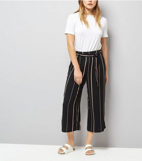 Black Tie Waist Stripe Cropped Trousers  | New Look