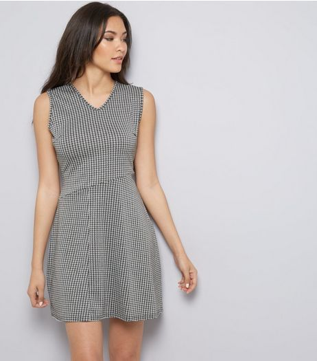 Pink Vanilla Black Dogtooth Pattern Skater Dress  | New Look