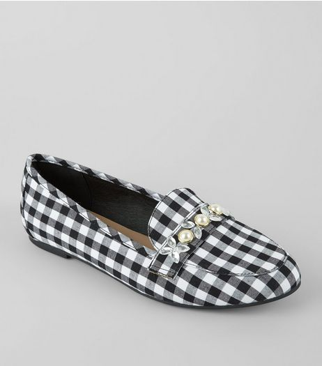 Black Gingham Embellished Loafers | New Look
