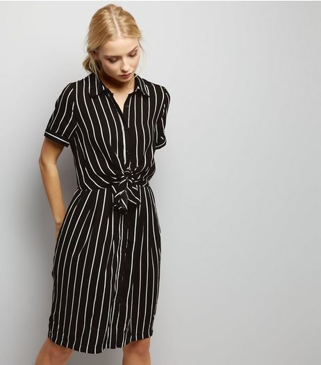 Anita And Green Black Stripe Tie Front Shirt Dress | New Look