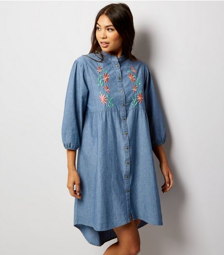 Mela Pale Blue Floral Embroidered Denim Dress | New Look