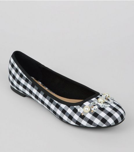Black Gingham Embellished Pumps  | New Look