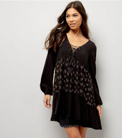 Apricot Black Lattice Front Floral Panel Smock Dress | New Look