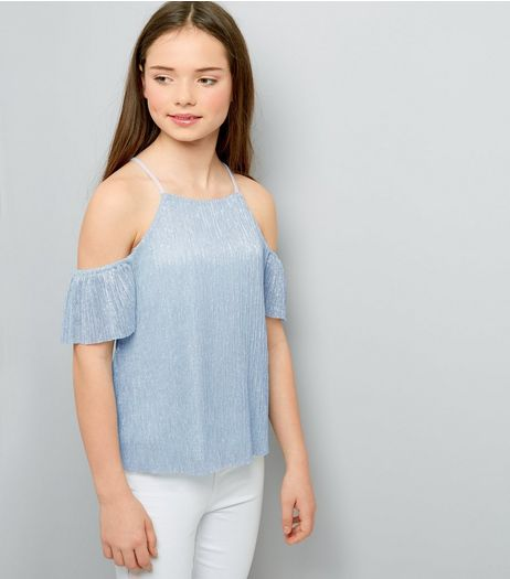 Teens Blue Metallic Pleated Cold Shoulder Top | New Look