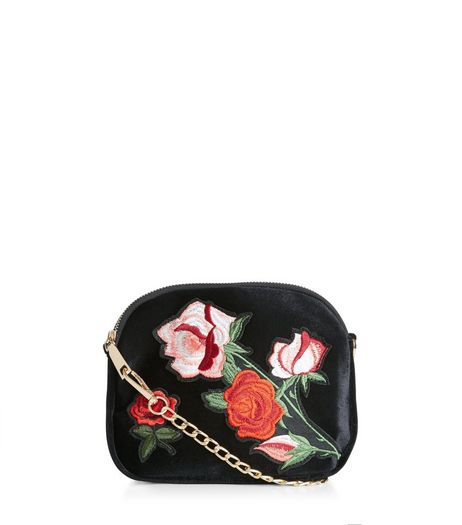 Black Floral Embroidered Across Body Bag  | New Look
