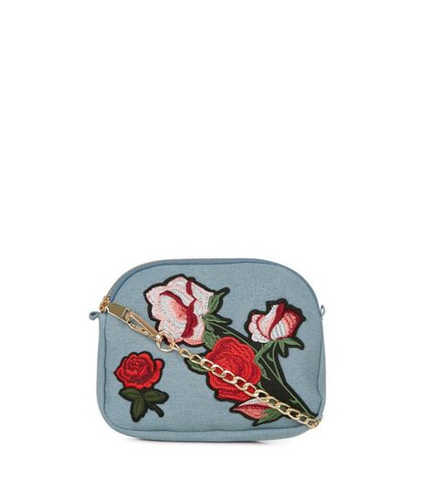 Pale Blue Floral Embroidered Across Body Bag | New Look
