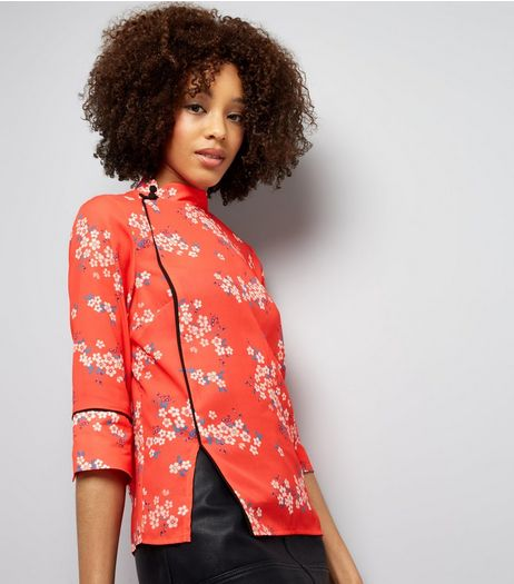 Red Floral Print Button Side Mandarin Collar Top | New Look
