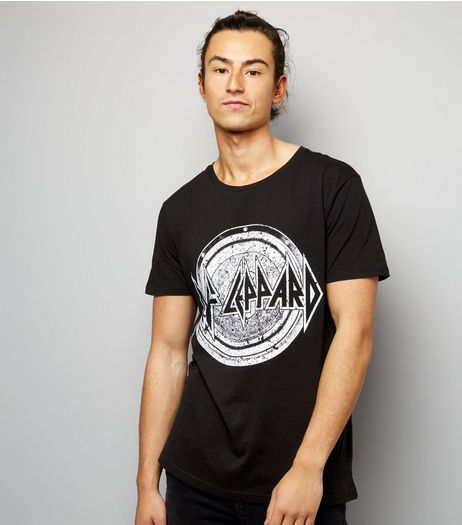 Black Def Leppard Print Short Sleeve T-Shirt  | New Look