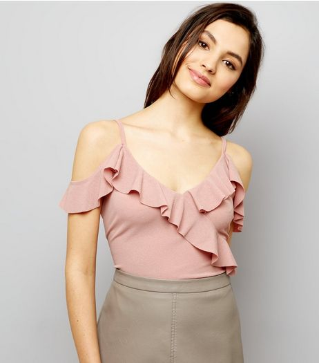 Pink Frill Trim Cold Shoulder Bodysuit | New Look