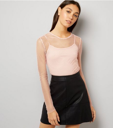 Mid Pink Fishnet Cropped 2 in 1 Cami Top  | New Look
