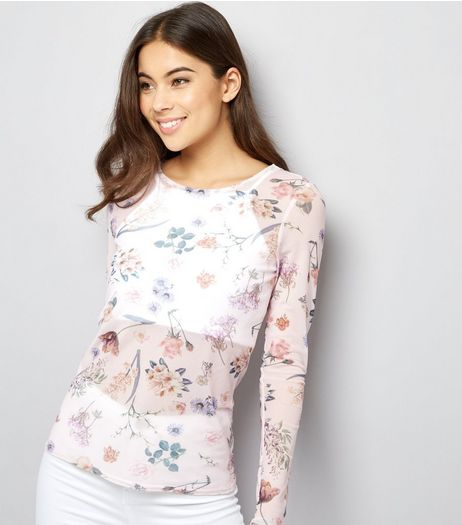 Pink Floral Print Mesh Long Sleeve Top | New Look