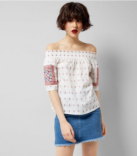 White Embroidered Bardot Neck Top | New Look