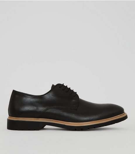 Black Leather Chunky Sole Derby Shoes | New Look
