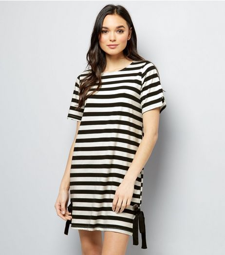 Anita And Green Black Stripe Eyelet Tie Side T-Shirt Dress | New Look