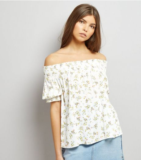 White Floral Print Shirred Bardot Top | New Look