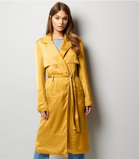 Anita and Green Yellow Sateen Duster Coat | New Look