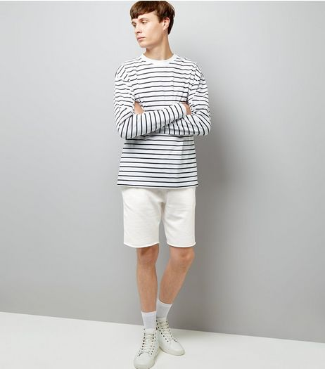 Off White Raw Hem Shorts | New Look